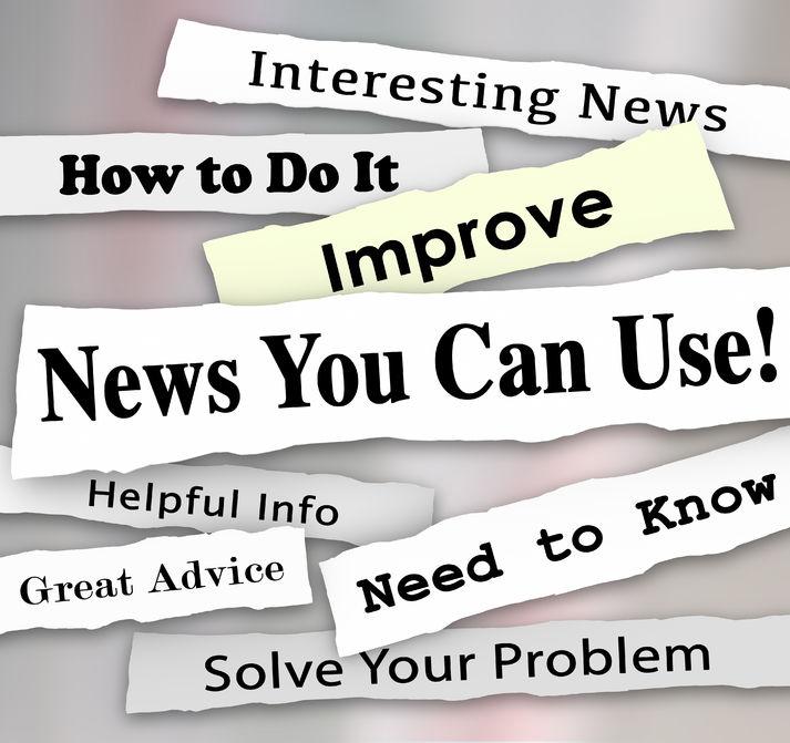 Schnipsel aus Zeitungen, die Überschriften zeigen Positives auf englisch