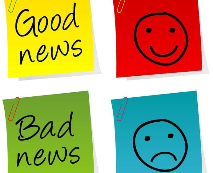 Post-its Good news und Bad news mit entsprechenden Smileys