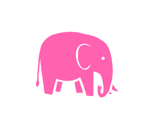 Illustration eines rosa Elefanten