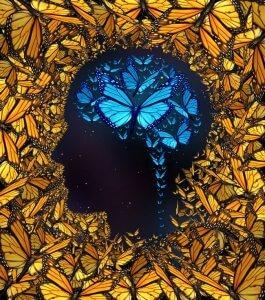 Schmetterline im Kopf, die Positivität ausstrahlen