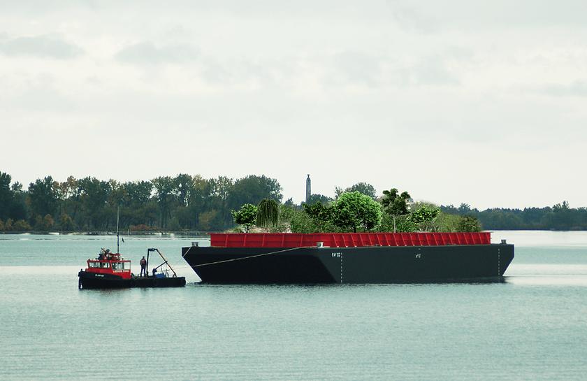 Rendering von Swale, der schwimmenden Farm it essbarem Wald an Bord, aus der Entfernung
